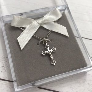 Sterling Silver Baby Crucifix Necklace NEW